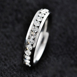 Unisex Crystal Couple Rings Silver Wedding Titanium Steel