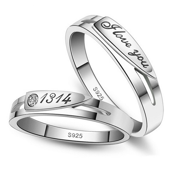 Valentines day Crystal Engraved Love You Wedding Rings Couple Women Jewelry
