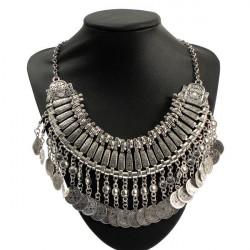 Vintage Alloy Choker Collar Tassels Pendant Statement Necklace