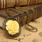 Vintage Antique Gold Yellow Rose Flower Pendant Necklace For Women Women Jewelry