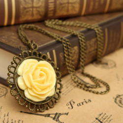 Vintage Antique Gold Yellow Rose Flower Pendant Necklace For Women