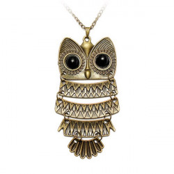 Vintage Antique Silver Bronze Owl Pendant Sweater Necklace Women