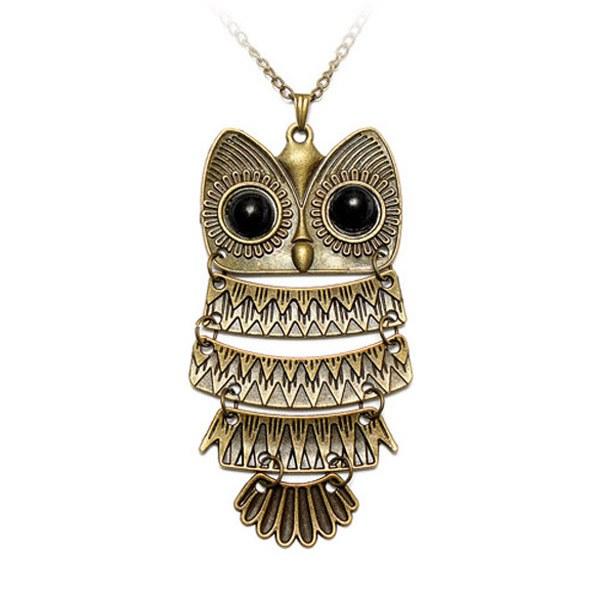 Vintage Antique Silver Bronze Owl Pendant Sweater Necklace Women Women Jewelry