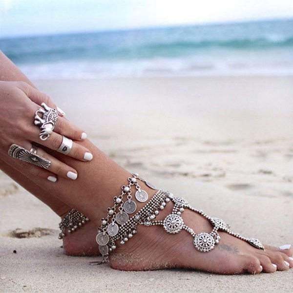 Vintage Antique Silver Charm Coin Anklet Beach Bracelet Foot Jewelry Women Jewelry