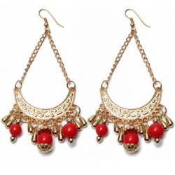 Vintage Beads Hollowed Tassel Long Drop Dangle Earrings Jewelry
