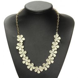 Vintage Beige Camellia Flower Crystal Choker Statement Necklace