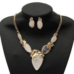 Vintage Big Gem Water Drop Earrings Necklace Wedding Jewelry Set