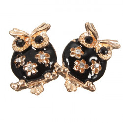 Vintage Black Crystal Hollow Flower Owl Stud Earrings For Women