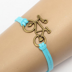 Vintage Bronze Bicycle Bike PU Leather Bracelet  For Women