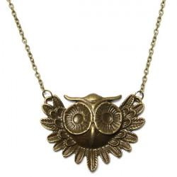 Vintage Bronze Owl Alloy Pendant Long Chain Necklace For Women
