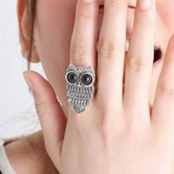 Vintage Bronze Silver Lovely Owl Alloy Finger Ring Women Jewelry
