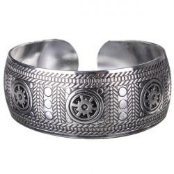 Vintage Carved Metal Tibetan Silver Cuff Bracelet Bangle For Women