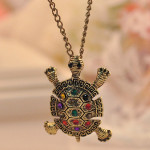 Vintage Colored Rhinestone Tortoise Sweater Necklace Long Chain Women Jewelry