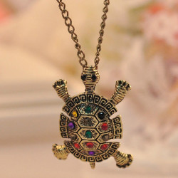 Vintage Colored Rhinestone Tortoise Sweater Necklace Long Chain