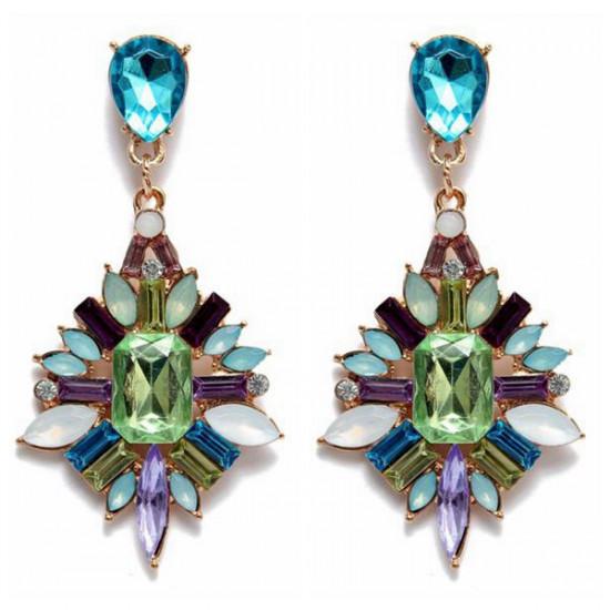 Vintage Colorful Crystal Rhinestone Water Drop Stud Earrings