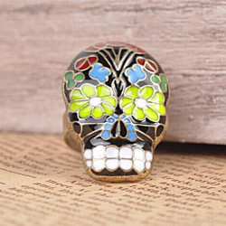 Vintage Colorful Peking Opera Mask Skull Enamel Flower Finger Ring