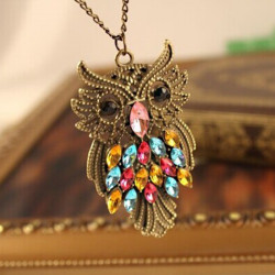 Vintage Colorful Rhinestone Bronze Owl Sweater Chain Pendant Necklace
