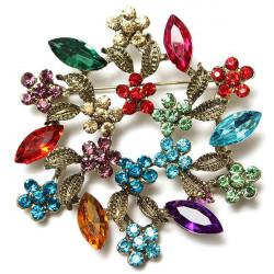 Vintage Colorful Rhinestone Crystal Wreath Leaves Flowers Brooch Pin
