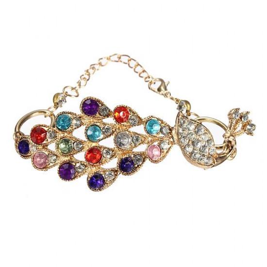 Vintage Colorful Rhinestone Peacock Chain Bangle Bracelet For Women