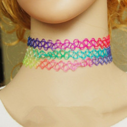 Vintage Colorful Stretch Elastic Henna Tattoo Choker Collar Necklace