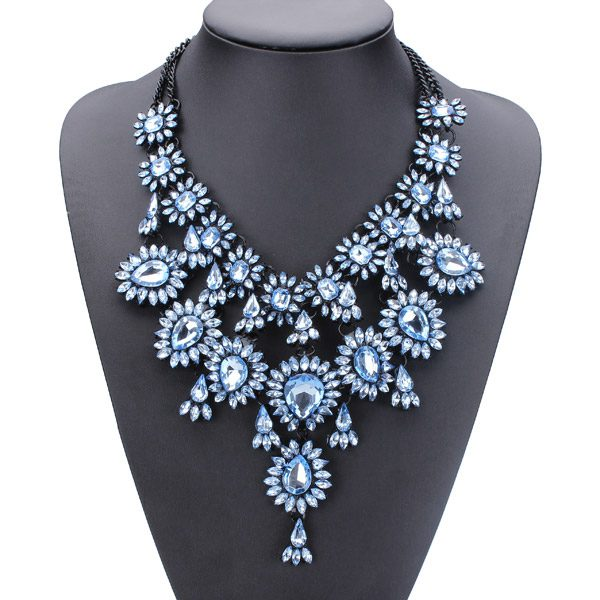 Vintage Crystal Flower Water Drop Chunky Statement Multilayer Necklace Fine Jewelry