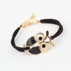 Vintage Crystal Owl Leather Rope Bracelet Bangle Black Red