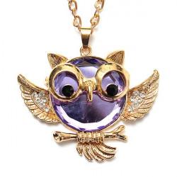 Vintage Crystal Rhinestone Owl Bird Sweater Chain Necklace For Women
