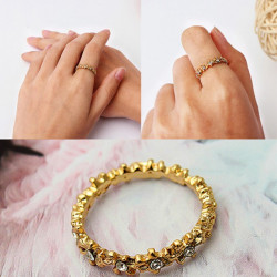Vintage Gold Plated Rhinestone Flowers Finger Ring Women Jewelry