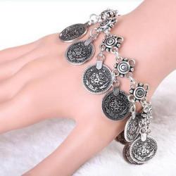 Vintage Gold Silver Coins Charm Chain Bracelet For Women