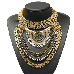 Vintage Gold Silver Crystal Multilayer Bib Statement Collar Necklace