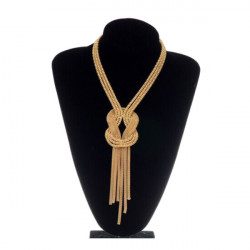 Vintage Gold Snake Long Bone Wound Alloy Tassel Necklace