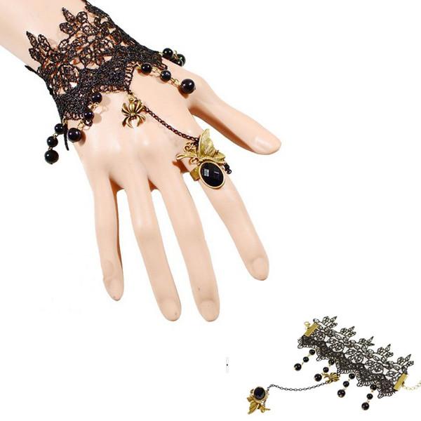 Vintage Gothic Rhinestone Black Lace Hanging Beads Ring Bracelet Women Jewelry