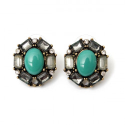 Vintage Green Resin Crystal Round Stud Earrings For Women