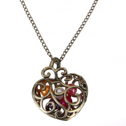 Vintage Hollow Heart Pearl Pendant Chain Necklace For Women