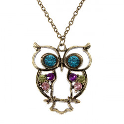 Vintage Hollow Out Rhinestone Owl Pendant Necklace Long Chain