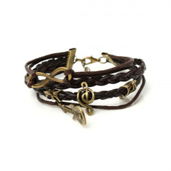 Vintage Infinity Note Guitar Multilayer Leather Woven Bracelet