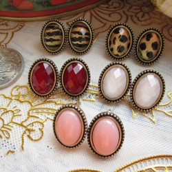 Vintage Leopard Print Oval Sparkling Facets Stud Earrings For Women