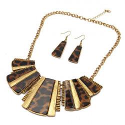 Vintage Leopard Square Pendant Necklace Earrings Jewelry Set
