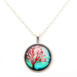 Vintage Life Tree Glass Cabochon Chain Pendant Necklace Jewelry