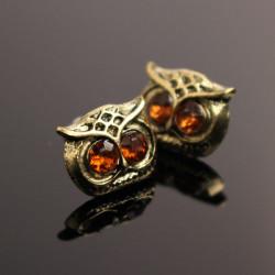 Vintage Lovely Rhinestone Eyes Owl Ear Stud Earrings Women Jewelry