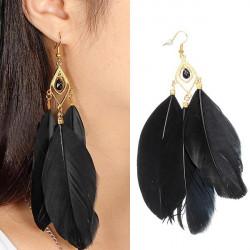 Vintage Metal Handmade Feather Long Drop Earrings Jewelry