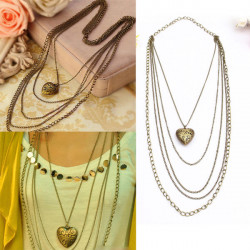 Vintage Multilayer Heart Pendant Long Chain Necklace For Women