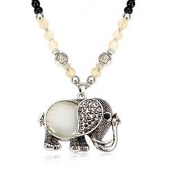 Vintage Opal Rhinestone Elephant Long Beads Chain Pendant Necklace