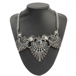 Vintage Punk Ancient Silver Feathers Crystal Pendant Chunky Necklace
