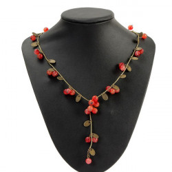 Vintage Red Cherries Beads Long Chain Necklace For Women