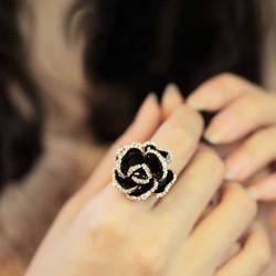 Vintage Rhinestone Black Rose Flower Finger Ring For Women