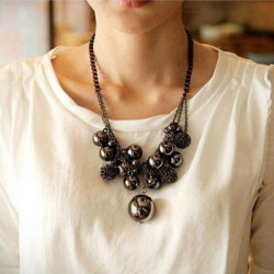 Vintage Round Beads Balls Tassel Alloy Chain Pendant Necklace