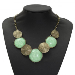 Vintage Round Gem Cabochon Collar Pendant Necklace For Women