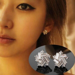 Vintage Silver Crystal Flower Star Stud Earrings For Women