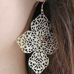 Vintage Silver Gold Hollow Out Four Leaves Dangle Earrings Jewelry Women Jewelry